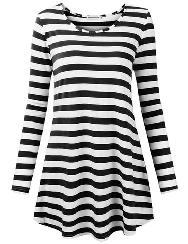 Moosungeek Womens Stripe Pattern Loose Tunic Top
