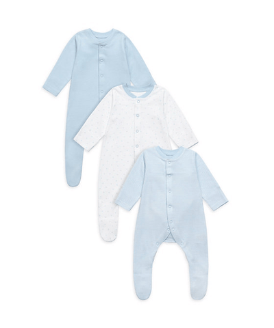 Mothercare My First Blue Sleepsuits - 3 Pack