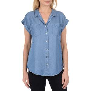 Jachs Girlfriend Womens Quinn Cap Sleeve Light Denim Chambray Blouse