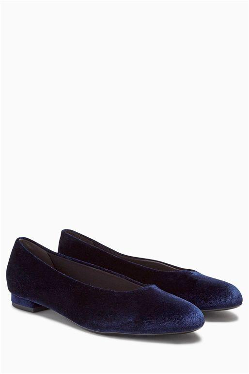 Next Navy Flat Womens Ballerinas
