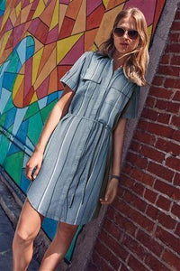 Next Navy Womens Stripe Linen Blend Shirt Dress