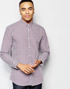 New Look Mens Gingham Red & Blue Check Shirt