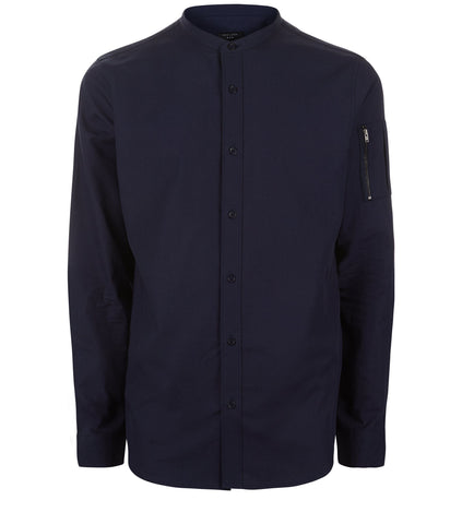 New Look Navy Grandad Collar Zip Long Sleeve Shirt