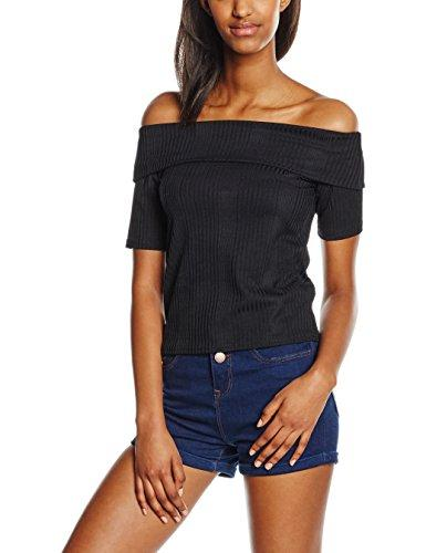 New Look Varigated Rib Bardot Black Top - Stockpoint Apparel Outlet
