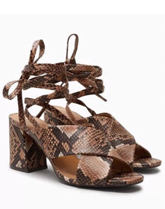 Next Womens Snakeskin Wrap Ankle Strap Block Heels