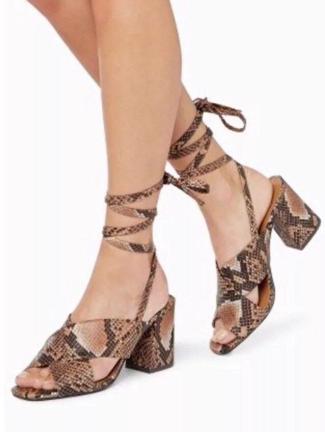 9042934bb88 Next Womens Snakeskin Wrap Ankle Strap Block Heels – Stockpoint ...