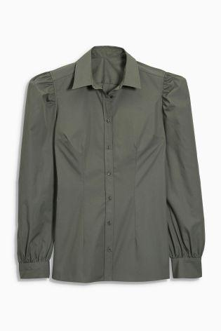 Next Classic Sage Balloon Sleeve Shirt - Stockpoint Apparel Outlet