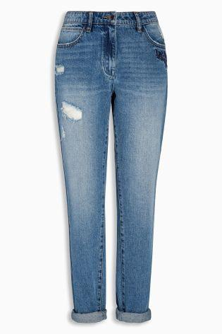 Next Embroidered Boyfriend Jeans - Stockpoint Apparel Outlet