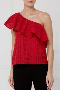 Next Womens Red Lace One Shoulder Top