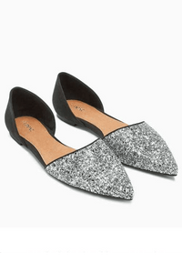 Next Womens Silver Black Point Flats