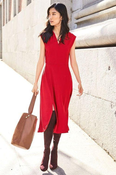 Next Petite Red Split Hem Womens Dress