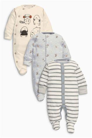 Next Three Pack Oatmeal Animal Sleepsuit - Stockpoint Apparel Outlet