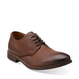 Clarks Mens Novato Plain Brown Leather Shoes