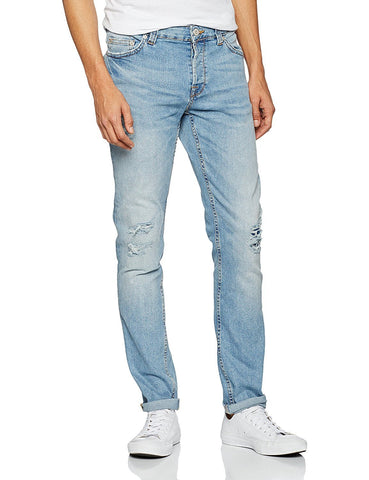 Only & Sons Mens Loom Light Blue Breaks Slim Fit Stretch Jeans