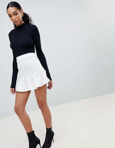 PrettyLittleThing Womens Verity Flippy Hem White Mini Skirt - Stockpoint Apparel Outlet