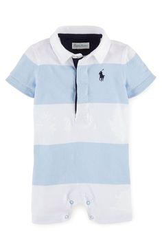 Polo by Ralph Lauren White Collar Sky Blue Stripe Romper - Stockpoint Apparel Outlet