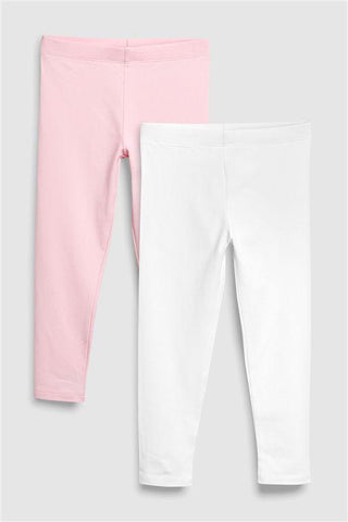 Next Younger Girls Pale Pink Leggings 2 Pack