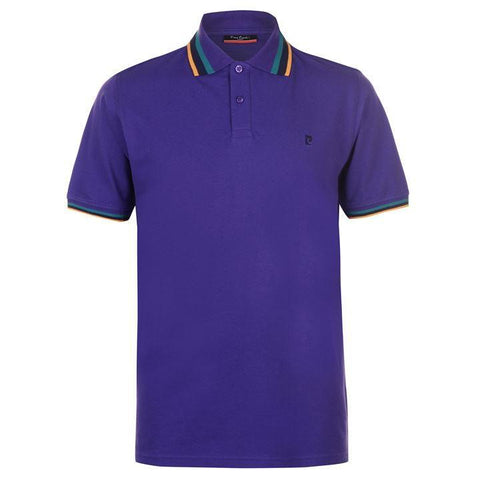Pierre Cardin Mens Purple Tipped Polo Shirt