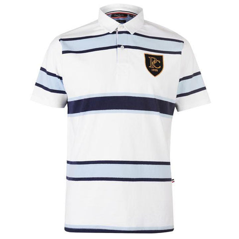 Pierre Cardin Mens White SS Rugby Polo Shirt