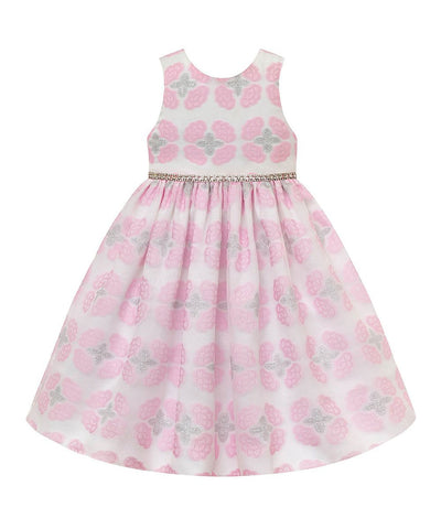 American Princess Pink Floral Metallic-Trim A-Line Younger Girls Dress