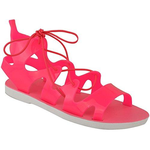 George Girls Pink Lace-up Jelly Sandals