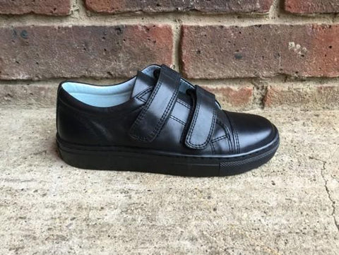 Petasil Pose Boys Black School Shoe