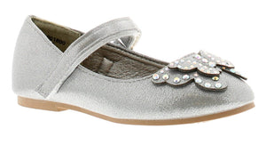 Princess Stardust Girls Gaby Butterfly Style Silver Ballerina Shoes