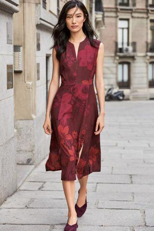 Next Womens Petite Red Floral Split Hem Dress