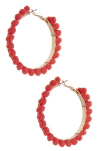Primark Red Pom Pom Hoops - Stockpoint Apparel Outlet