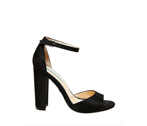 Betsey Johnson Womens SB-CARLY Black Glitter Heels