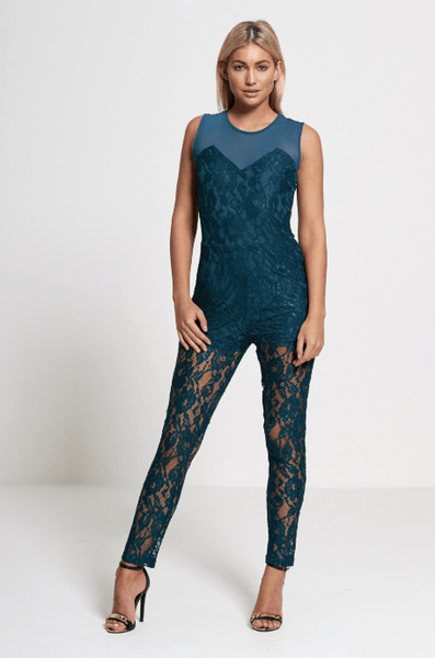 Diva Dames Womens Lace Teal Jumpsuit