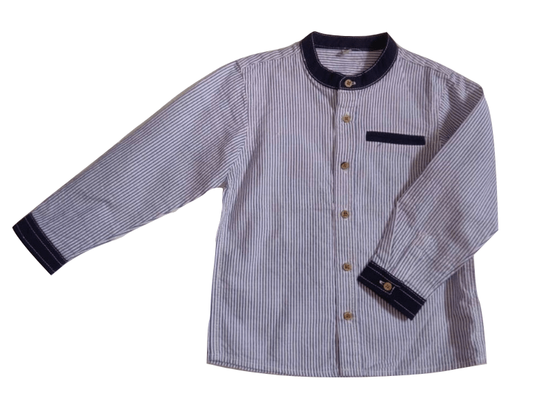 LC Waikiki Striped Grandad Baby Boys Shirt