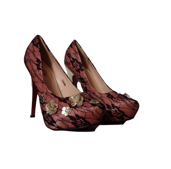 ChiChi London Womens Lace Overlay Heels