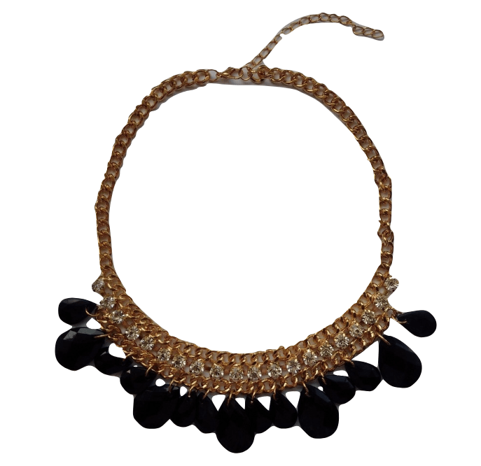 Wilphen Fashion Black Stone Diamante Statement Necklace - Stockpoint Apparel Outlet