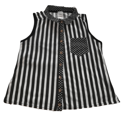 Kylie Black White Stripes Sleeveless Shirt - Stockpoint Apparel Outlet