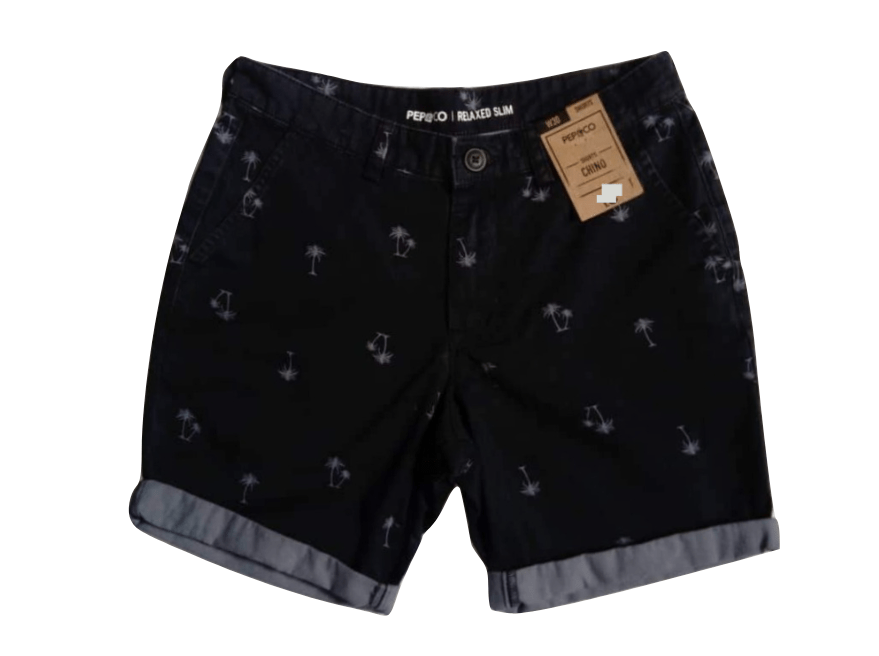 Pep & Co Relaxed Slim Navy Blue Palm Tree Shorts - Stockpoint Apparel Outlet