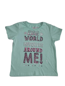 Pep & Co Baby Girls The World Revolves Around Me Green T-Shirt