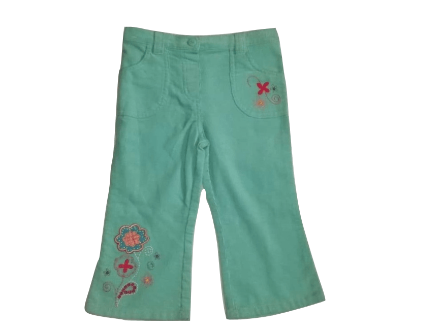 Mini Mode Green Corduroy Floral Trousers - Stockpoint Apparel Outlet