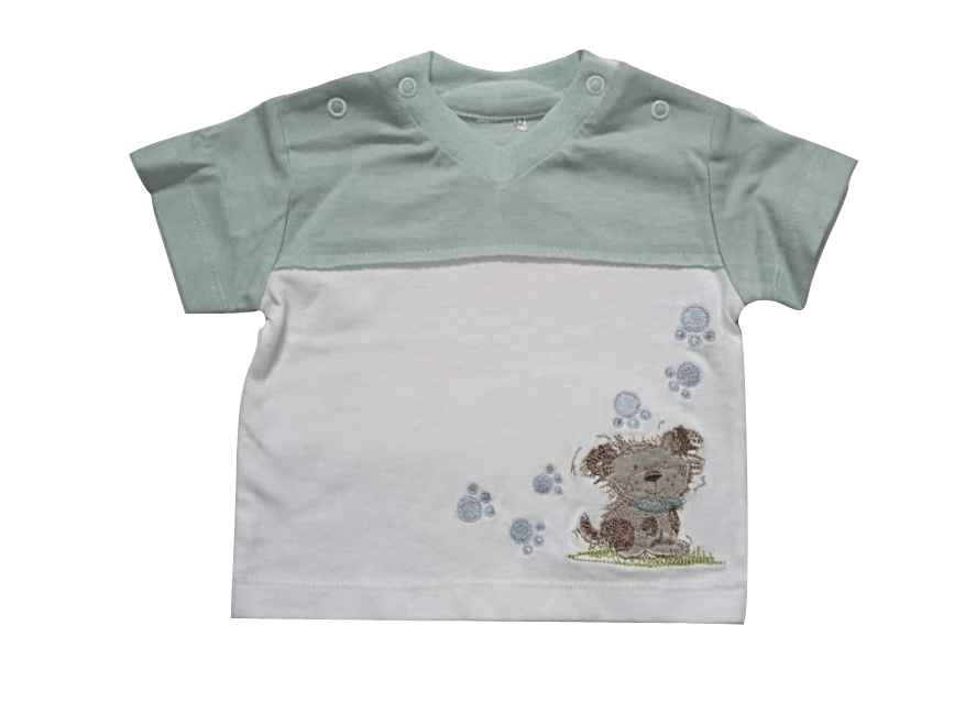 Baby Boys Puppy Green White T-Shirt