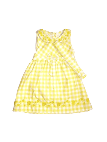 Pep & Co Yellow Check Floral Detail Girls Dress with Headband