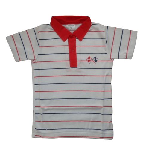 EMA Striped Boys Poloshirt Red/white - Stockpoint Apparel Outlet