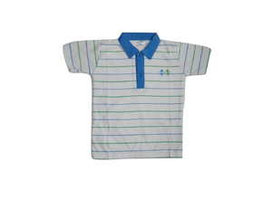 EMA Boys Striped Polo shirt Blue/white - Stockpoint Apparel Outlet