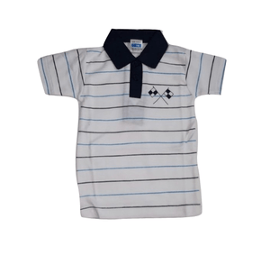 EMA Boys Striped Polo shirt Navy/white - Stockpoint Apparel Outlet