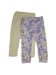Coo Chi Coo Girls Floral & Plain Two Pack Leggings