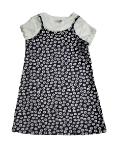 George Girls 2 Piece Black Floral Dress & White Top
