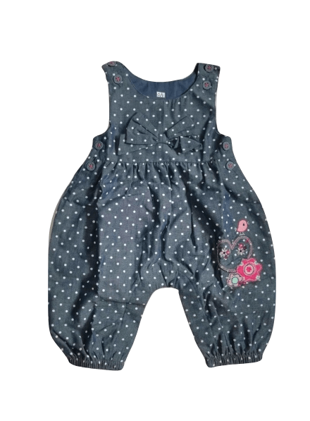 Tu Blue Floral Design Polka Dot Jumpsuit