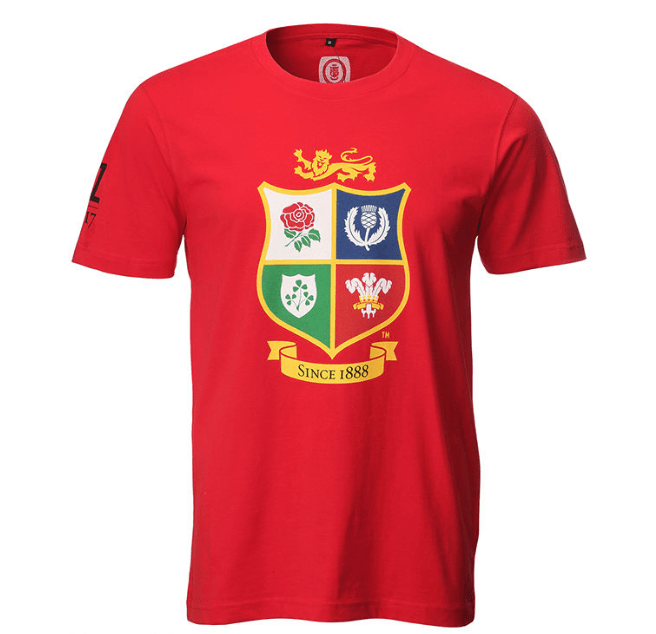 British & Irish Lions Rugby Crest Mens Red T-Shirt