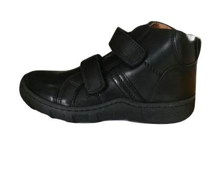 Petasil Paulo Boys Double Strap Black Hitop Shoes