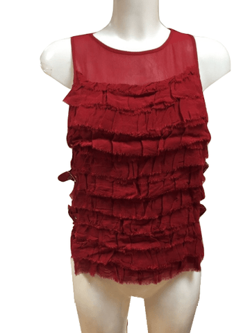 Topshop Womens Red Buckle Frill Ruffle Vest Top
