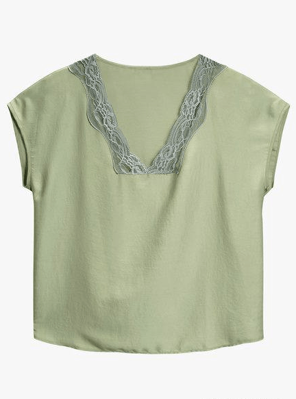 Next Womens Green Satin Lace Trim Top